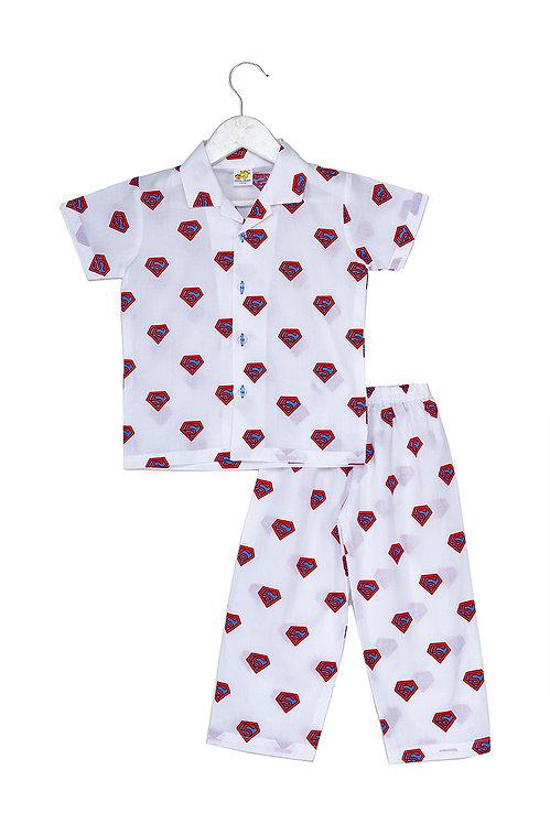 Printed half sleeve nightsuit set Ns Super Blue Pink