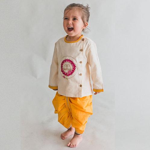 Baby Boy White Dhoti Set Krishna Lotus Feet