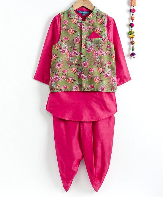 Kurta Dhoti With Jacket Set- Fuschia