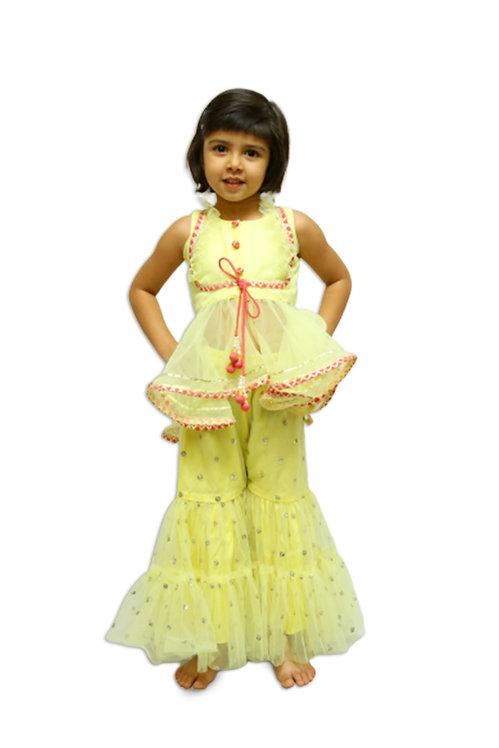 Yellow Sequins Sharara Set