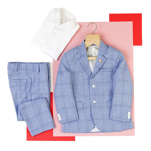 Light Blue Checked Suit