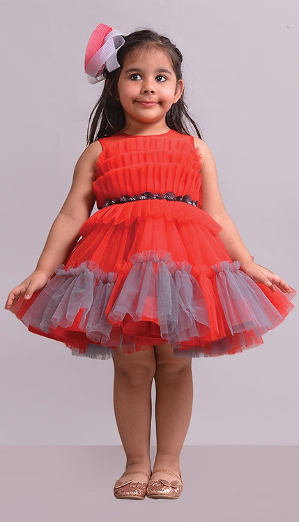 Red Grey Frock