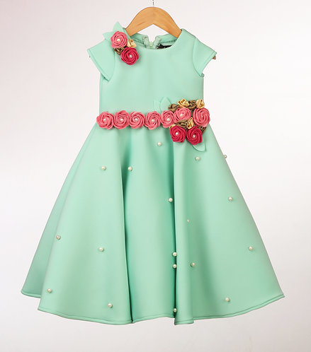 Mint Flowers Gown