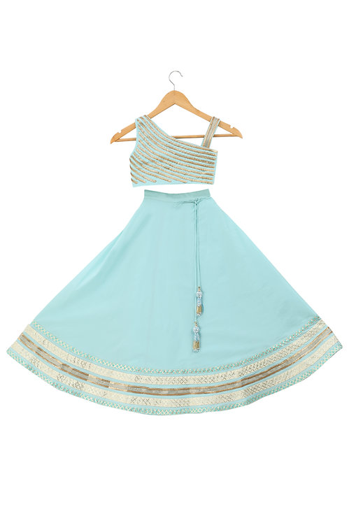 Light Blue One-Shoulder Crop Top And Skirt