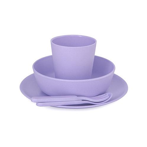 5 Piece Children's Bamboo Dinner Set - Lilac Purple