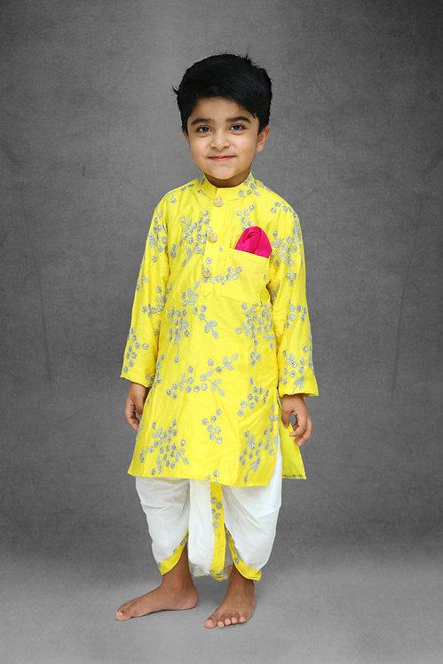 Yellow Embroidered Kurta And White Dhoti