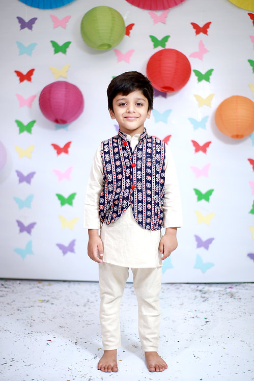RS-Flex Kurta Pajama With Floral Waist Coat