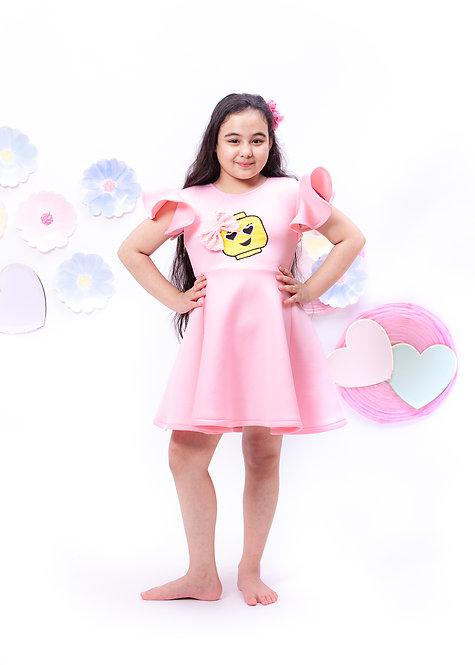 Baby Pink Neoprene Dress with Lego Motif