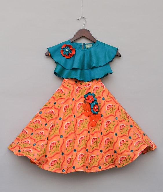 Blue Top with Orange Printed Lehenga
