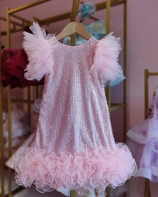 Pink Sequins Dress with Net frills