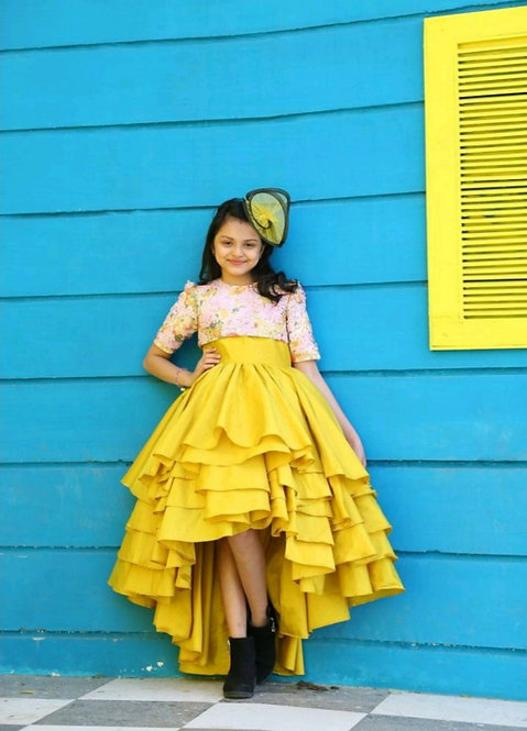 Yellow Tafetta Gown With Pink Sequins Crop Top