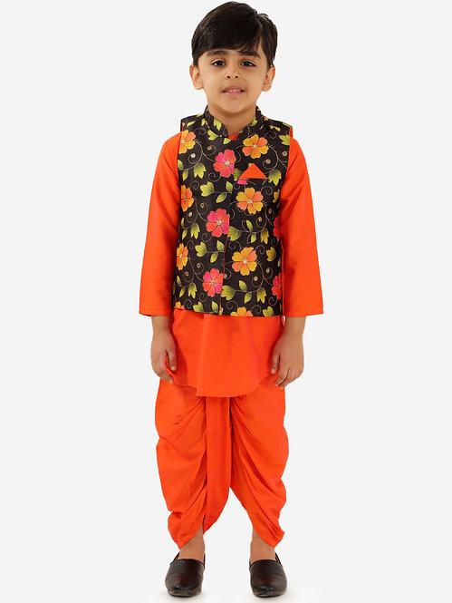 Boys Kurta Dhoti with jacket set-Orange