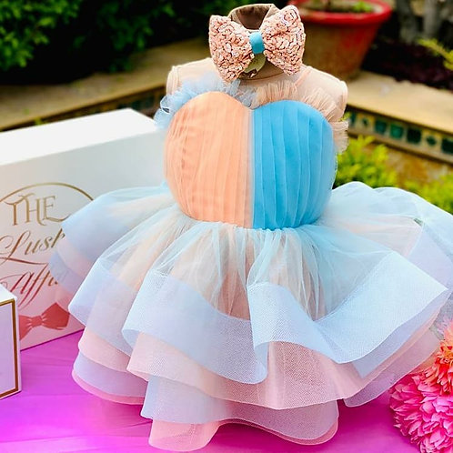 Dual Colour Dress with Hair Accessory