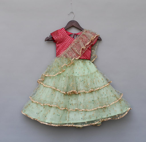 Green Net Saree with Pink Top