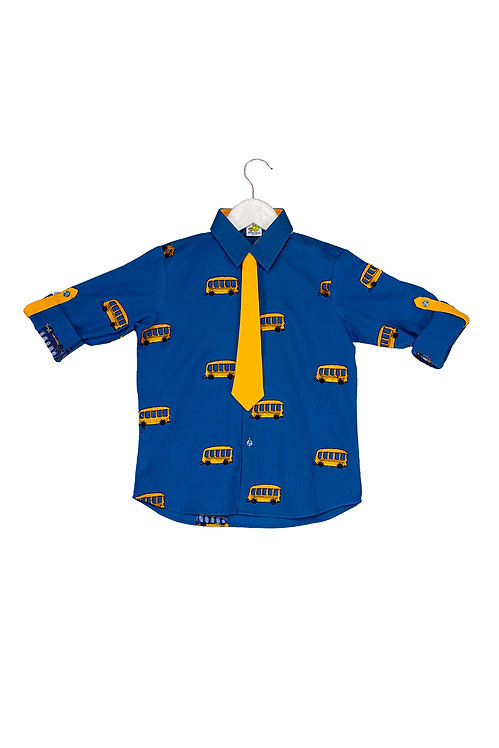 Bus Roll up shirt with tie Blue