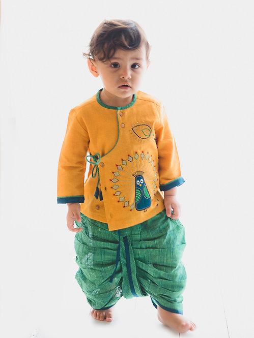 Baby Boy Mustard Peacock Dhoti Set