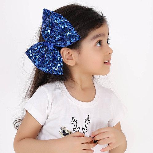 Blue Sequins Bow Hair Clip