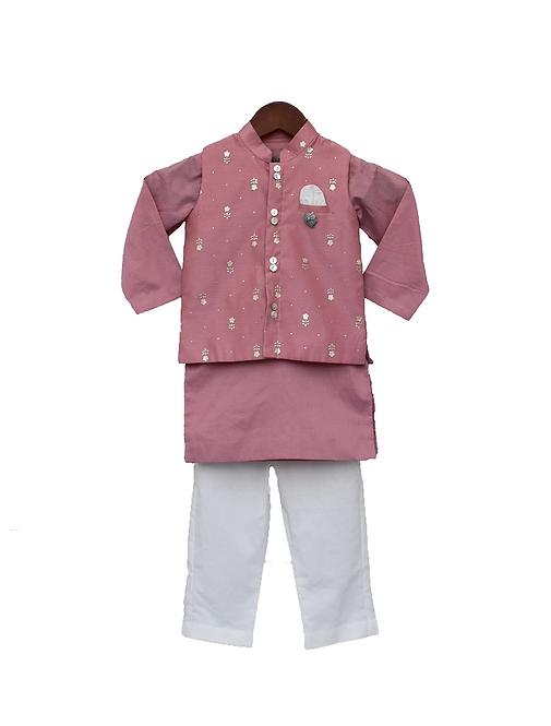 Purple Chanderi Nehru Jacket Set