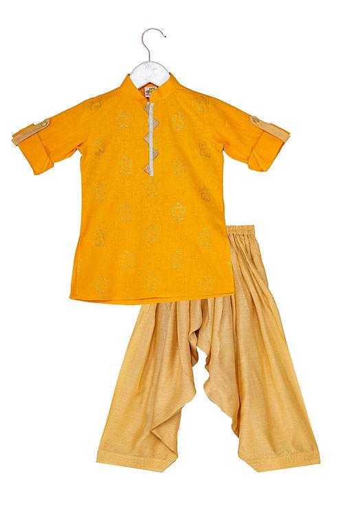 Embroidered kurta and patiala set ele mustard