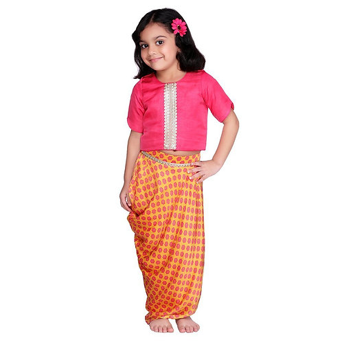 Mango Cowl Dhoti Skirt Set