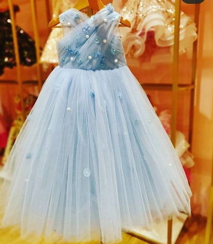 Blue Gown with Crystal Butterfly