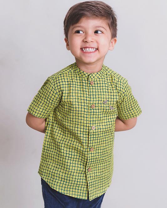 Boy Green Checks Shirt