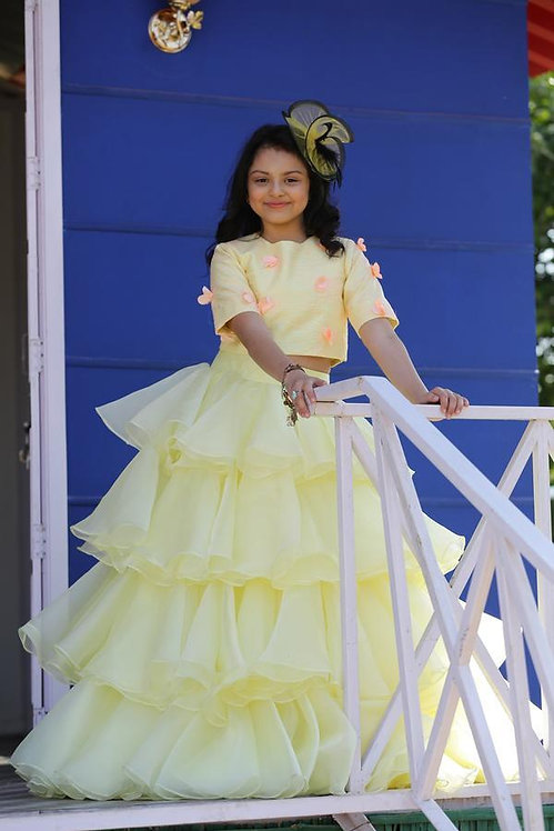 Yellow Organza Tiered Lehnga With Top