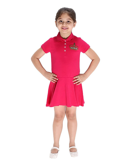 Fuchsia Polo Dress With Crown Embroidery