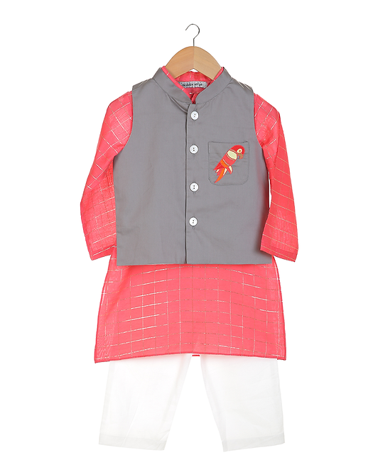 Red Kurta Set With Embroidered Jacket