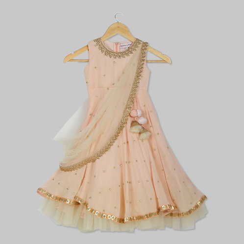 Peach Embroiderd Anarkali With Dupatta
