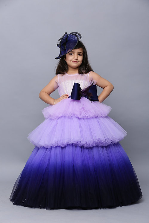 Blue Tiered Ball Gown