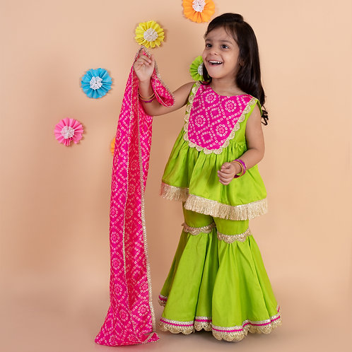 Parrot Green Sharara Set