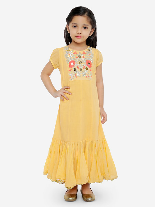 Cotton Gown With Embroidered Front Yoke -Orange
