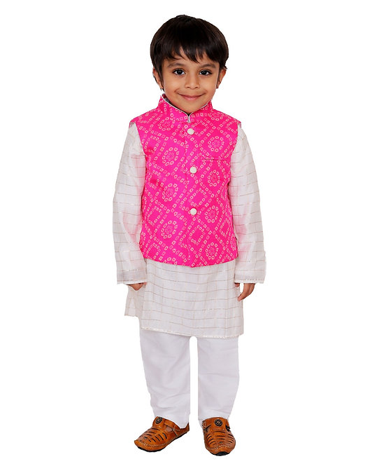 Pink Bandhej Nehru Jacket With Kurta And Pants- Set Of Three