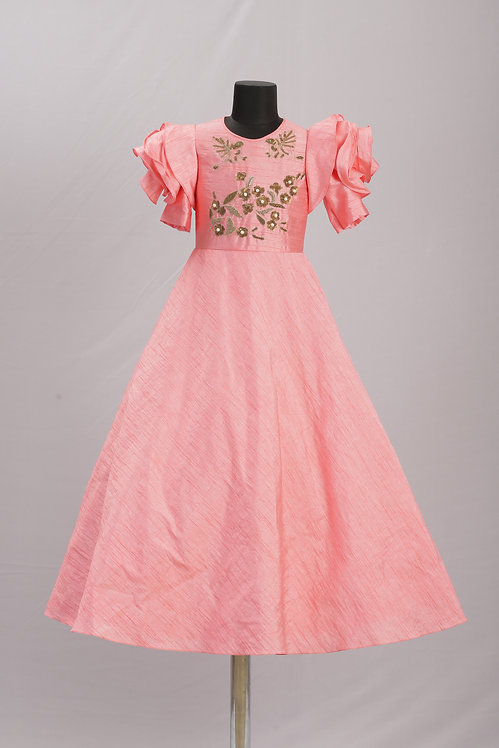 Rose Sleeve Embroidered Gown