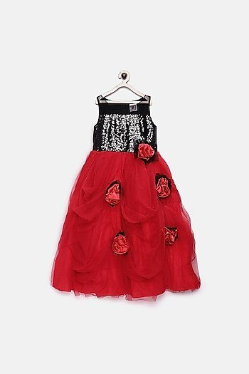 Black & Red Sequins Floral Gown