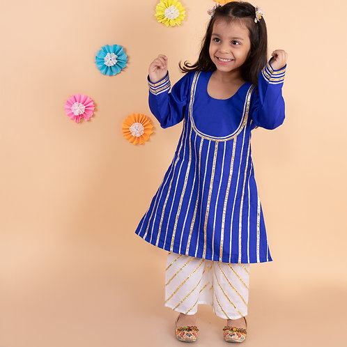 Blue gota work a-line kurti with white palazzo