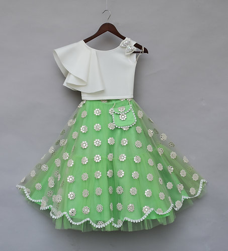White Lycra Frill Top with Green Embroidery Lehenga