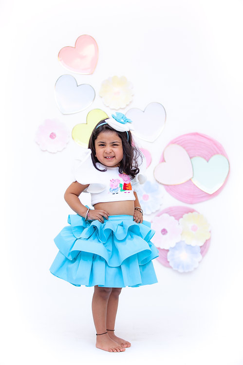Off White Peppa Pig Top with Blue Skirt