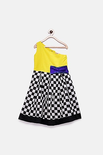 Yellow Checkered Gown With Bow