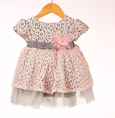 Pink Grey Lace Flower Dress