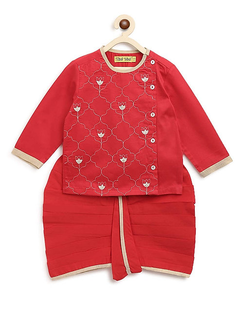 Baby Boy Red Jaal Dhoti Set
