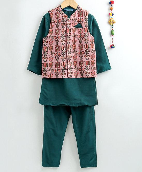 Kurta Pyjama With Jacket Set- Peacock Green