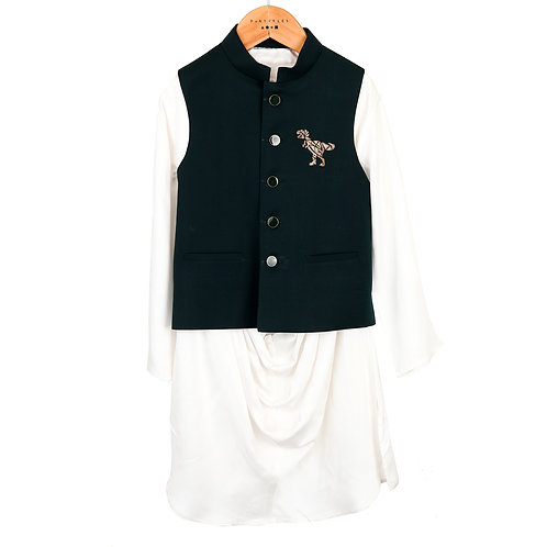 Dinosaur Embroidered Kurta Set
