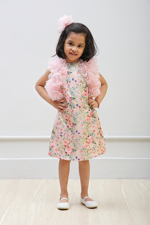Pink Floral Print Dress with Organza Ruffle