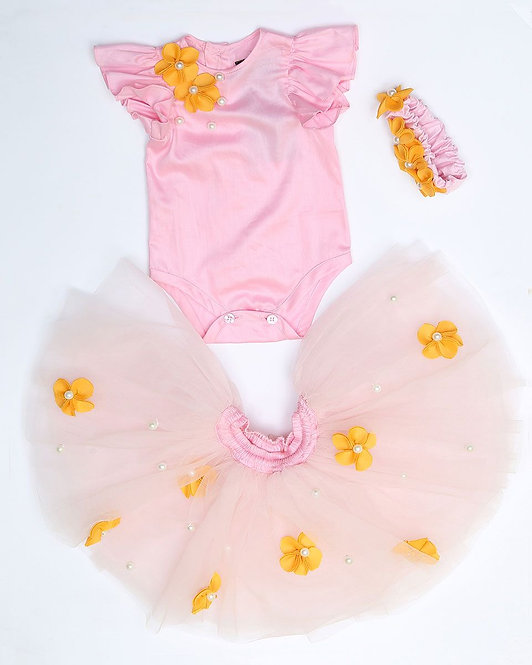 Pink Romper with Tutu skirt and flowers