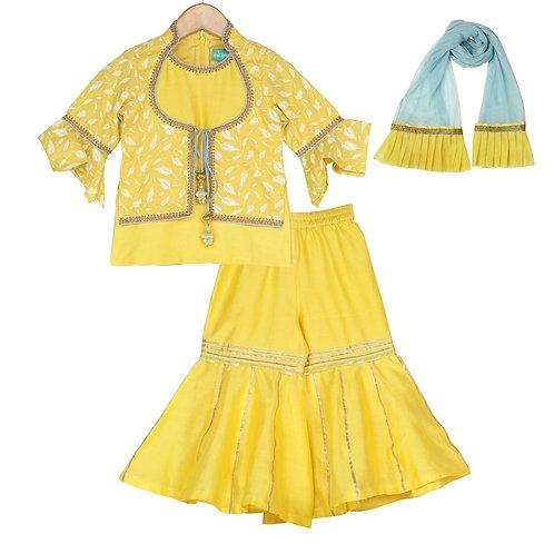 Belle Yellow Sharara Set