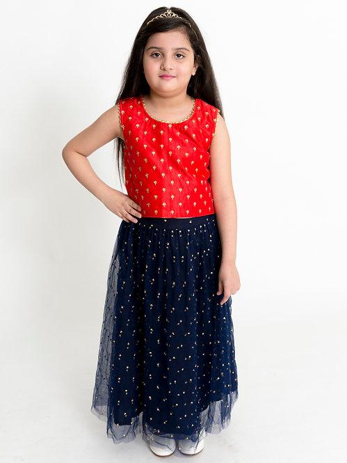 Stylish Girls Ghaghra Choli Set-Red