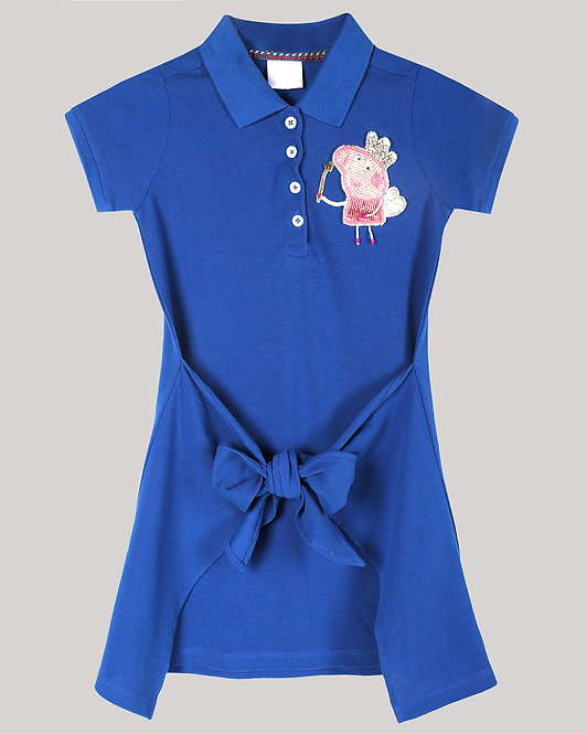 Polo Dress With Front Tie-Up And Fairy Peppa Pig Motif