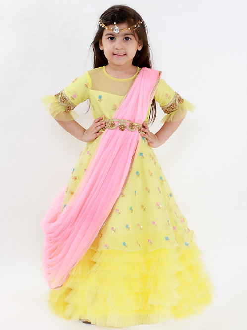 Yellow Boota Gown With Pink Dupatta